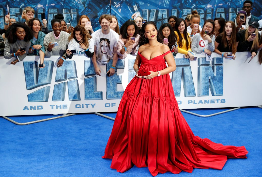 """Cast member Rihanna poses at the European premiere of """"Valerian and the City of a Thousand Planets"""" in London, Britain"""